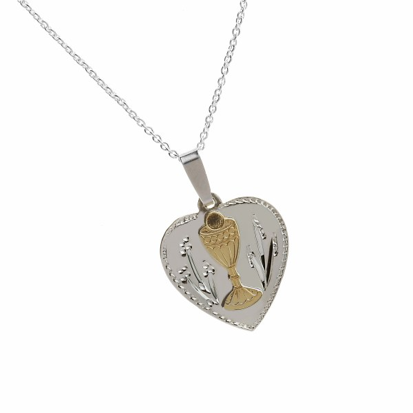 Engraved Heart First Holy Communion Medal