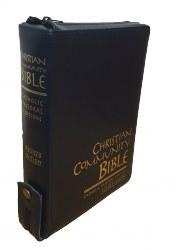 Christian Community Bible, Navy Leather, Zipped