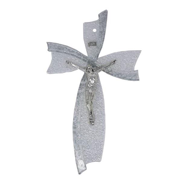 Silver Murano Glass Crucifix (34cm)