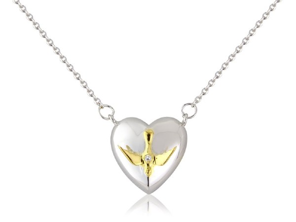 Sterling Silver Confirmation Heart with Gold Dove