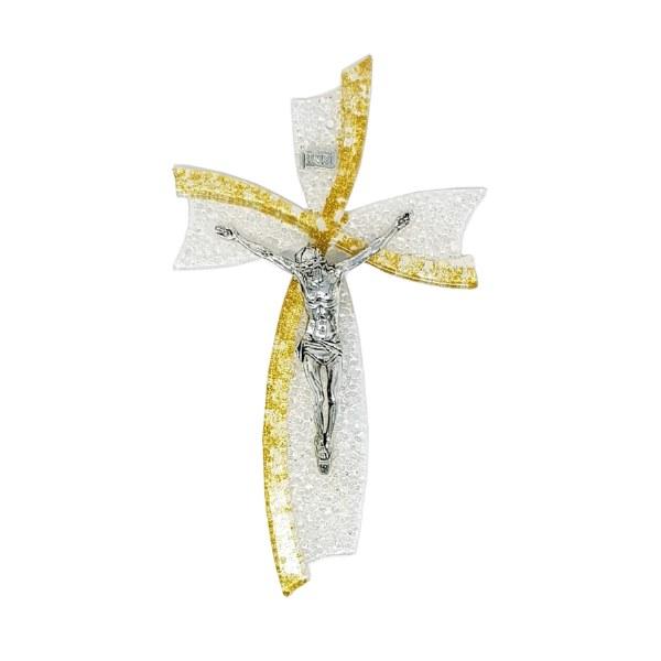 Gold Murano Glass Crucifix (21cm)