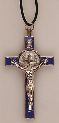 Blue St Benedict's Crucifix with Leaflet (8cm)