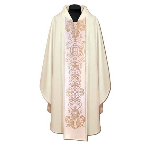 White Chasuble, Cream orphrey and stylish IHS