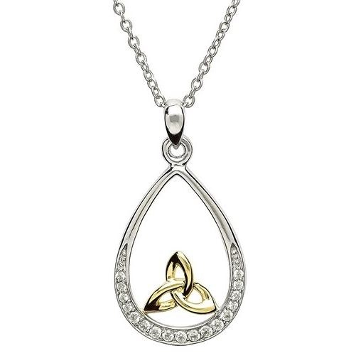Sterling Silver Pave Set Trinity Gold Plate Pendant