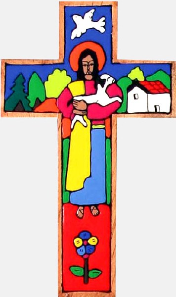 Traditional Good Shepherd Hand Painted Wooden Cross (25cm)