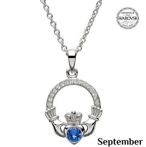 Claddagh Birthstone Necklace With Swarovski Crystals (September)