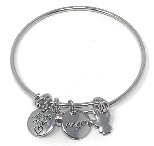 KLB18SL Silver Guardian Angel Bangle