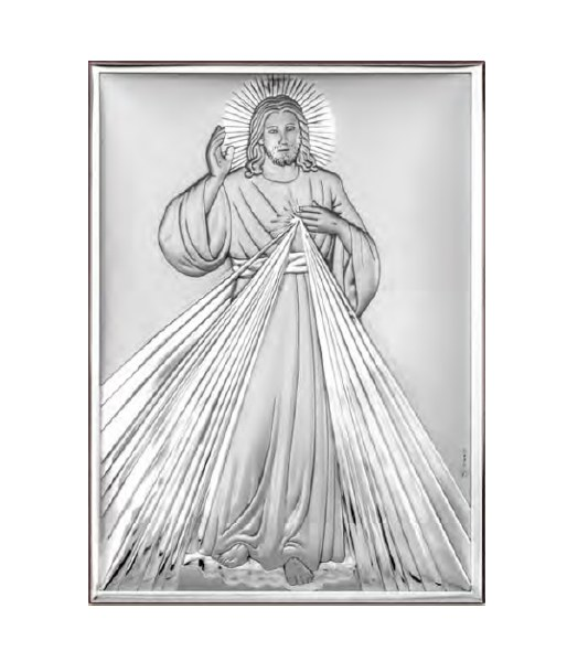 Divine Mercy Sterling Silver Icon (18 x 13 cm)