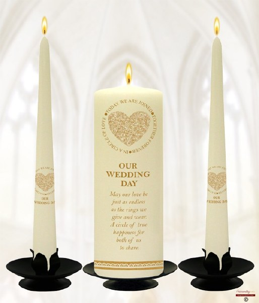 Ivory Circle of Love Wedding Candle Boxed Set