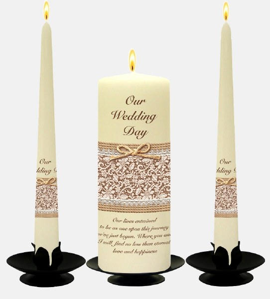 Gold on Ivory Lace and Rope Wedding Candle