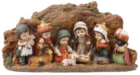 Children's Nativity Scene with Cave Resin backdrop