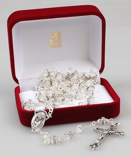 Crystal Clear Rosary Beads in Gift Box