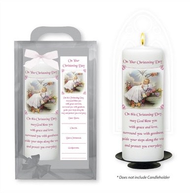 Traditional Baby Girl Baptism Candle