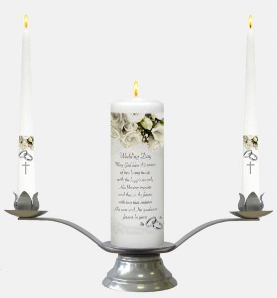 White Rose Wedding Candle Boxed set