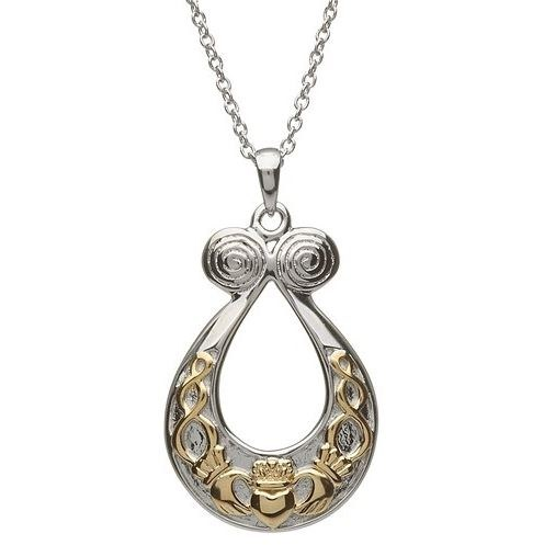 Sterling Silver Gold Plate Claddagh Pendant