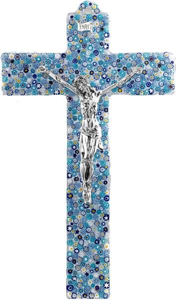 Specchio Murano Glass Crucifix with Silver Corpus (47cm)