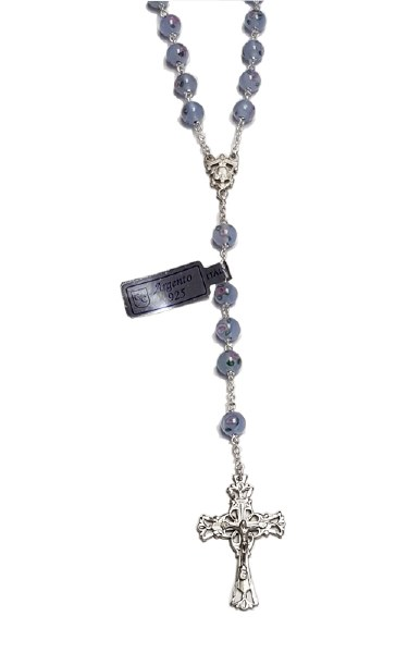 Blue Murano Stone Sterling Silver Rosary Beads