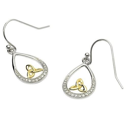 Sterling Silver Pave Set Trinity Gold Plate Earrings