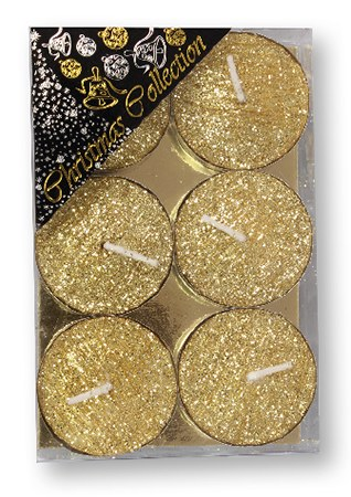 Gold Glitter Tealight set of six