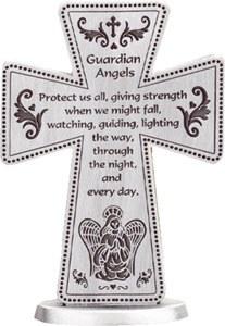 Guardian Angel Pewter Cross (8cm)