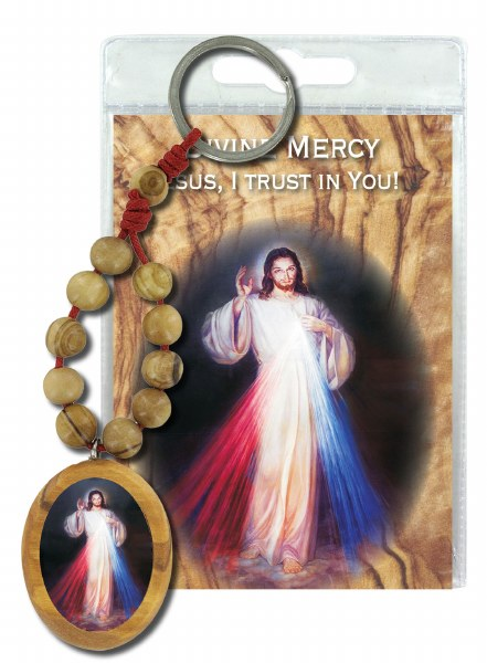 Divine Mercy Olive Wood Single Decade