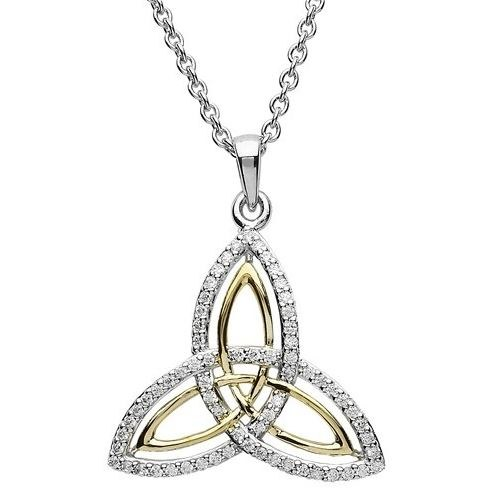 Sterling Silver Gold Plate Cubic zirconia Trinity Pendant