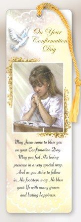 Laminated Confirmation Praying Girl Bookmark