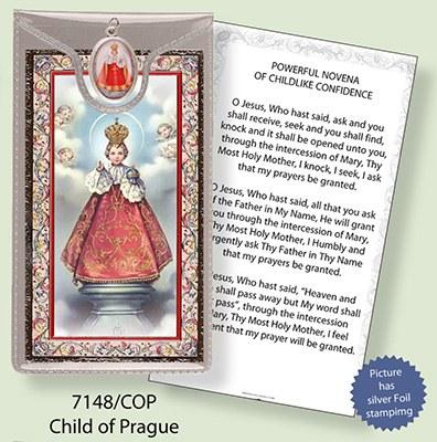 Child of Prague Prayercard and Medal