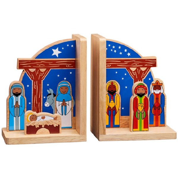 Wooden Nativity Bookends