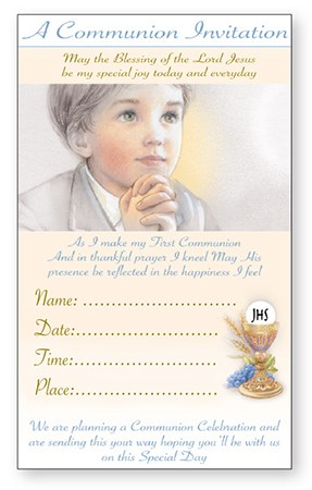 Boy First Holy Communion Invitation Pack