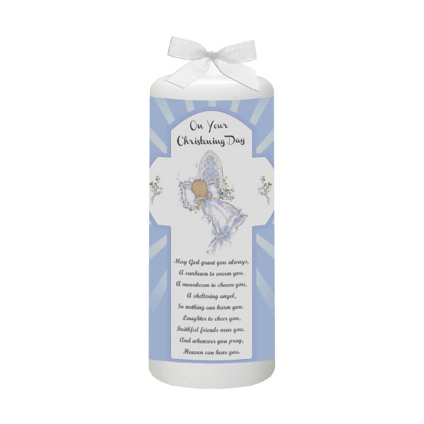 Blue Baptism Candle for Baby Boy