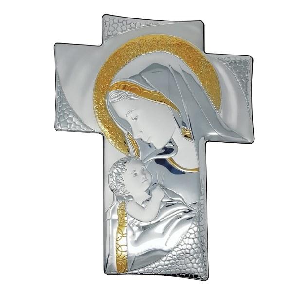 Madonna and Child Silver Icon Cross (34cm)