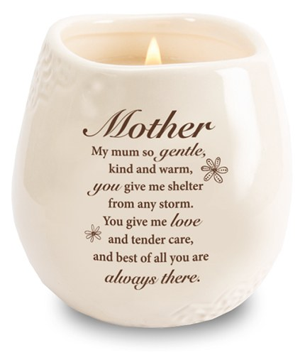 Stoneware Jar with Soy Wax Candle and message for mothers