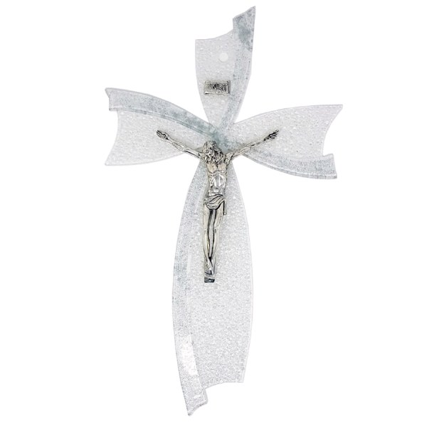 Silver Murano Glass Crucifix (47cm)