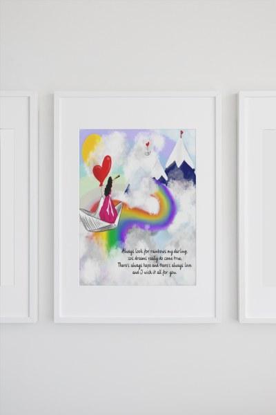 INSP003 Look For Rainbows Framed print