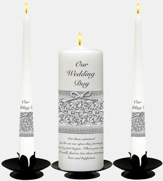 Silver on White Lace and Rope Wedding Candle Boxed