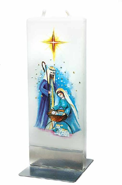 Holy Family Nativity Scene Handmade Flat Candle