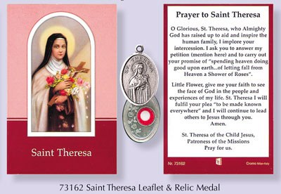 Prayercard to St Theresa with relic medal