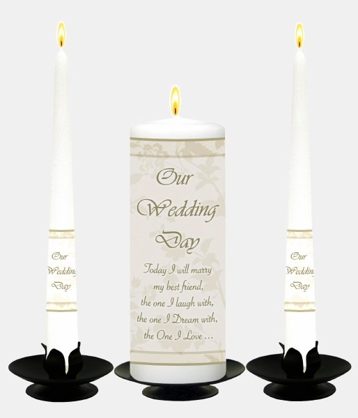 Cream Flower Frame White Wedding Candle