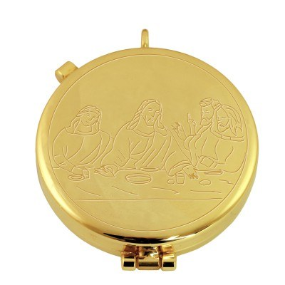 Gold Plated Last Supper Pyx (12 hosts)