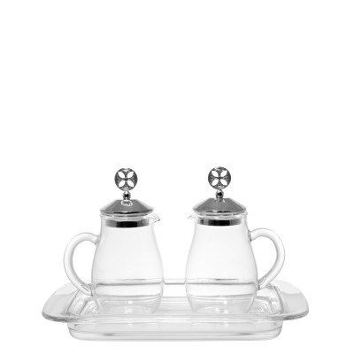 Glass Cruet Set with Silver Lids (160ml)