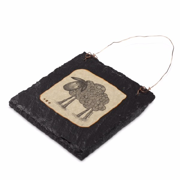 Sheep Doodle Art on Slate with Copper wire 14 x 14