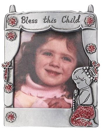Pewter Photo Frame with praying girl