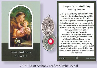 Prayercard to St Anthony with relic medal