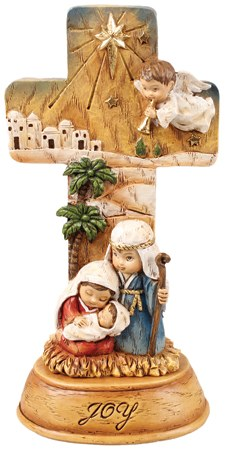 Angel Nativity Cross 18cm