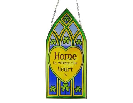 Home is where Heart is Gothic Stained Glass Panel