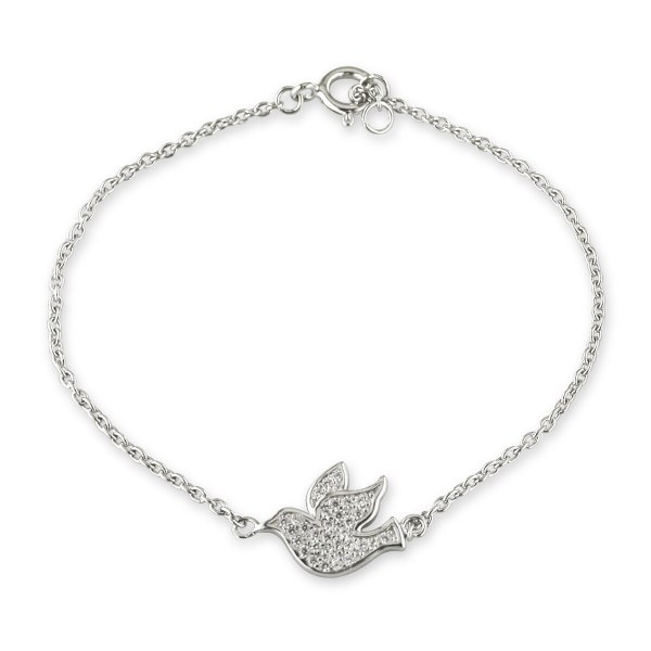 Sterling Silver Confirmation Dove Crystal Bracelet