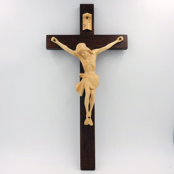 Hand Crafted Crucifix with Cream Corpus - Ideal for Schools/Churches/Sacred Spaces (45cm)