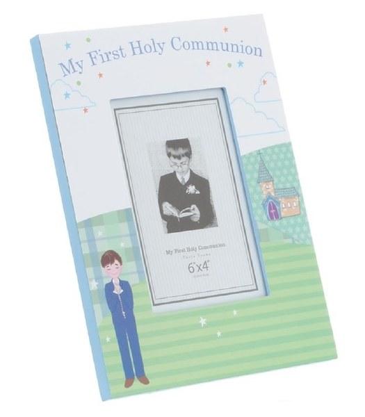 Blue Portrait First Holy Communion Photo Frame
