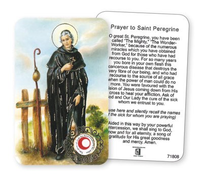 St Peregrine Prayer leaflet with Relic